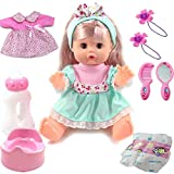 IOPJKL Princess Dress Doll, 12,6 Zoll Vocal Feeding Stillen Dress-up Puppenset, Babyflasche, Rock,...