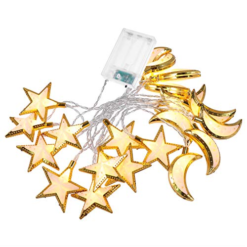 Minkissy Gold Star Crescent Luna Farolillo Ramadán Guirnalda de luz festiva, cadena de luces, lámpara colgante sin batería para el hogar, feliz Ramadán, Mubarak Party Decor (20 LED)