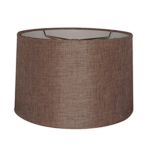 12x14x10 Chocolate Burlap Hardback Drum Lampshade with Brass Spider Fitter - Perfect for Table and Desk Lamps - Medium, Brown