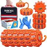 MARCALA Emergency Flares for Cars 12-Pack | Roadside Safety Discs | LED Safety Flare Emergency Lights | The only Complete Safety Disc Kit w/ 2 Bonus Items! | Feel Safer on The Road!!