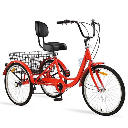"Ey Adult Tricycle, 3 Wheel Bike Adult, Three Wheel Cruiser Bike 24 26 inch Wheels, 7 Speed, Adjustable Seat and Handlebar, Multiple Colors (Hot Red, 24"" Wheels/7-speed)"