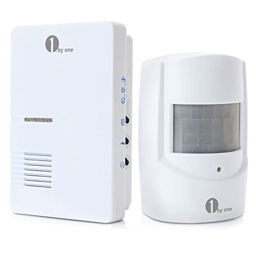 1byone Wireless Home Security Driveway Alarm, 1 Plug-in Receiver and 1 PIR Motion