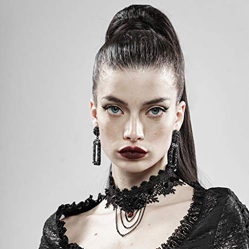 PUNK RAVE Women Rose and Thorns Gothic Lolita Lace Necklace Adjustable Chain Punk Necklace Women Party Accessories (Black,F)