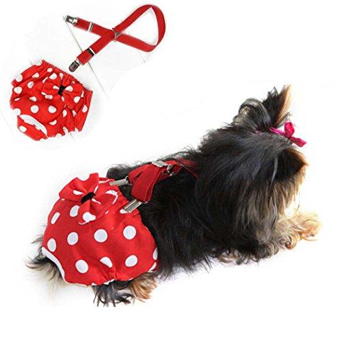 犬用生理パンツサニタリーパンツサスペンダー付きマナーパンツ犬猫おむつカバーペットしつけ用品かわいいリボン付犬服