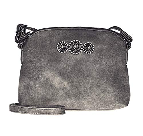 Dirndltasche Trachtentasche als Umhänge-Tasche Kunst-Leder mit Edelweiss Anthrazit Grau-Metallic