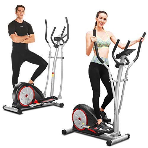 FUNMILY Elliptical Machine, Elliptical Trainer Machine with LCD Monitor and Pulse Rate Grip s Magnetic Smooth Quiet Driven for Home Use