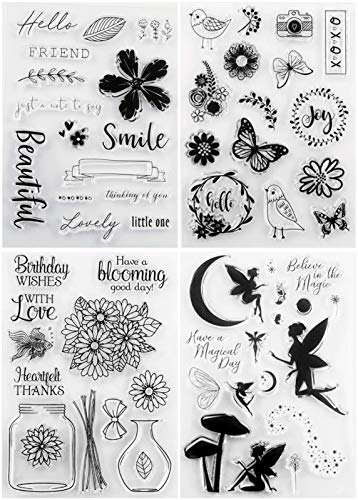 Tikkii 4-Pack Clear Stamps Fairy Dust Wishes Butterfly Flowers Bird Wishing Bottle Rubber Stamper for Card Making and Scrapbooking