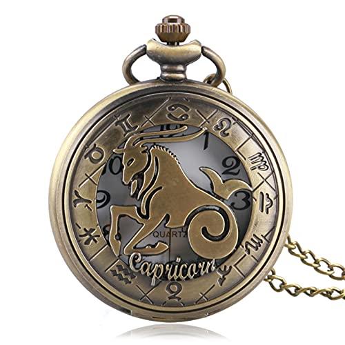 JTWMY Constelación Elegante diseño de Capricornio Reloj de Bolsillo Mujeres Hombres Reloj Colgante del Zodiaco con Cadena de Collar por defecto