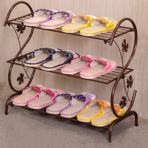 CCLLA Schuhregal Stehend, Wandregale - Eisen Mehrschichtiges Einfaches Schuhregal Metall Kleiner Schuhregal Home Decor Aufbewahrungsregale (Farbe: BRAUN, Größe: 3 Schichten)