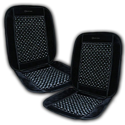 Zento Deals 2 Pcs. of Premium Quality Comfortable Black Wooden Beaded Plush Velvet Seat Cover- Good Ventilation Massage Cool Car Seat Cushion