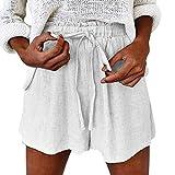 Damen Sommer Baumwolle und Leinen Gummiband Krawatte Lässige Shorts,Zolimx Mode Frauen-Sommer-feste elastische Schnürung Baumwolle und Leinen beiläufige kurze Hosen