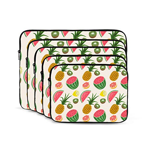 Fruits Pineapple Watermelon Lemon Laptop Sleeve 17 inch, Shock Resistant Notebook Briefcase, Computer Protective Bag, Tablet Carrying Case for MacBook Pro/MacBook Air/Asus/Dell/Lenovo/Hp/Samsung/Sony