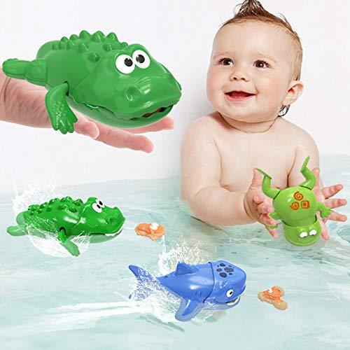 toymus Baby Badespielzeug, Baby Bade Schwimmen Badewanne Pool Spielzeug, Uhrwerk Schwimmbad Spielzeug, Hai, Krokodil, Frosch, Babyspiel Wasserbad Spielzeug, Für 3 Monaten Kinder Jungen Mädchen-3 Pack