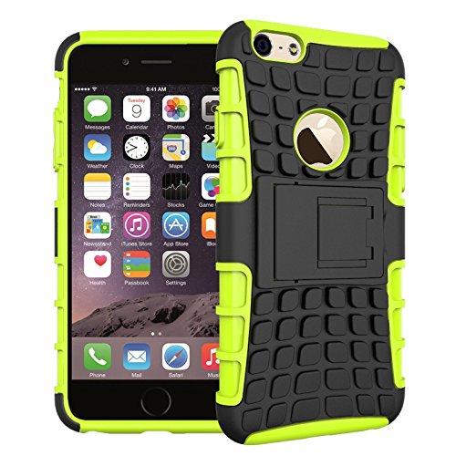 pinlu Custodia per iPhone 6 6S (4.7 Pollice) Smartphone Armatura Rugged Heavy Duty Cover Doppio Strato TPU + PC Antiurto Protettiva Case Pneumatico Modello Verde