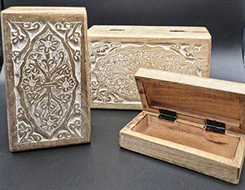 set de 3 cajas y organizador de joyas de madera rectangular tallada a mano, Joyero neceser Organizador de Joyas con 1 compartimento, Caja de Joyero para Mujer - joyeros de Viaje Organizador de Joyas