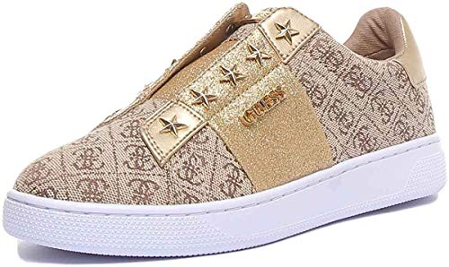 Guess Scarpe Donna Sneaker Senza Lacci Rush in Tessuto Colore Beige/Brown DS20GU18