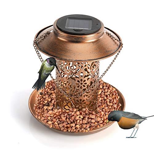 ACCIEEY Mangiatoia per Uccelli a energia Solare, da Appendere alla casetta per Uccelli da Giardino, Decorazione per Esterni, Giardino, Cortile Decorativa