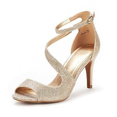 DREAM PAIRS Women's Nile Gold Glitter Fashion Stilettos Open Toe Pump Heel Sandals Size 6.5 B(M) US