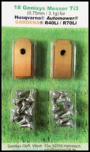 genisys !Titan Messer (Ti3=0,75mm) und Schrauben für Husqvarna Automower®, Gardena® Mähroboter