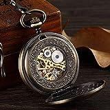 KANGNING Reloj de Bolsillo Doble Lados Hombres mecánicos Bronce Hueco Esqueleto Mecánico Relojes Clip Cadens Steampunk Pendant Gifts Reloj de Bolsillo para papá Well