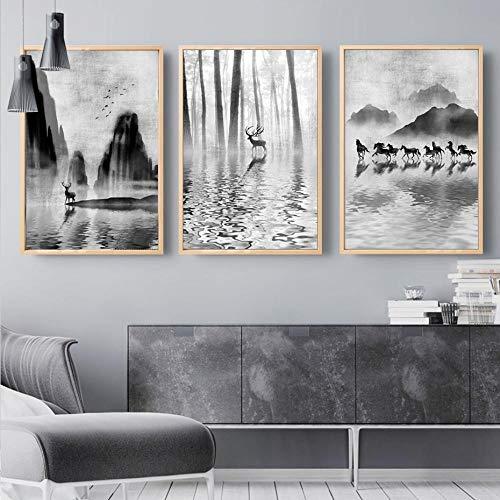 JRLDMD Abstracto Blanco y Negro Bosque Escena Ciervos Lienzo Pintura Pared nórdica Pop Arte Cartel impresión imágenes para Sala de Estar decoración del hogar 50x70cmx3 sin Marco