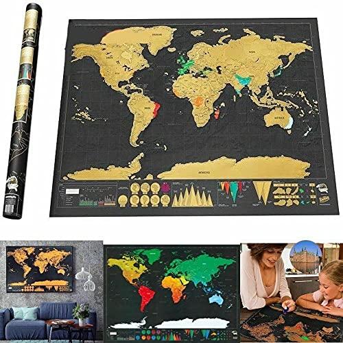 REPLOOD Mappa Del Mondo Mappamondo Da Grattare Cartina Geografica Viaggia Vacanza Poster 81x58 cm