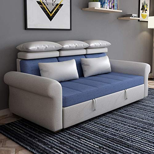 Home Equipment Sofa Couch Bed European Fabric Loveseat Sleeper Sofa Convertible Bed Multifunction Pull Out Sectional Futon Couch Furniture Comfortable Sponge Padding Suitable for Apartment Living R
