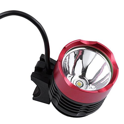 Keenso Faro a LED T6 a 3 Colori Faro Ricaricabile a LED Faro per Bicicletta a LED Torcia a LED Luce Frontale per Bicicletta + 2 Anelli di Gomma(Rosso)