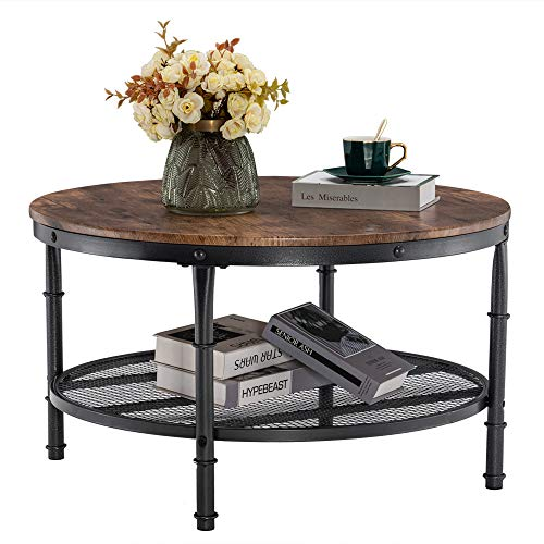 VINGLI Round Coffee Table, Coffee Table for Living Room with Wooden Top & Metal Frame, 2-Tier Open...