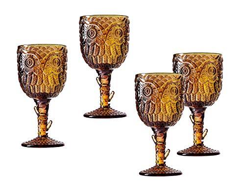 Godinger Owl Stemmed Glasses Goblets, Drinking Glass - Set of 4