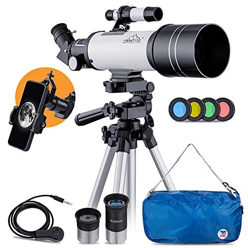Télescope Astronomique Aux Enfants ou Débutants 400/70mm Agrandissement HD Élevé à Portable et Équipé d'un Trépied Adaptateur pour Smartphone Réfracteur Maxlapter