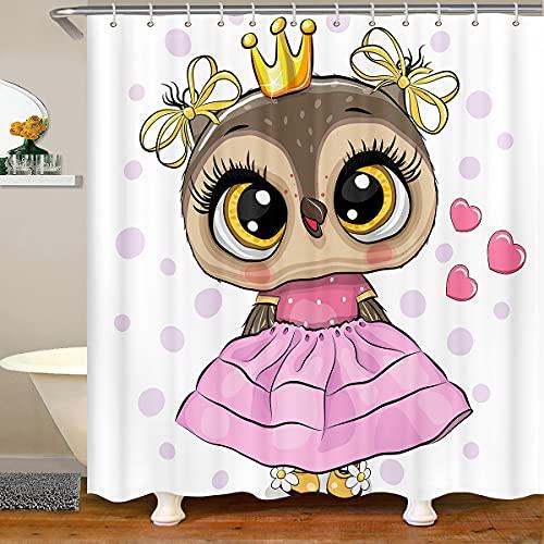 Cortina de ducha con diseño de búho, para niñas y mujeres, con diseño de animales de salvaje con ojos grandes, decoración de baño, tela impermeable con 12 ganchos, 84 pulgadas, color rosa