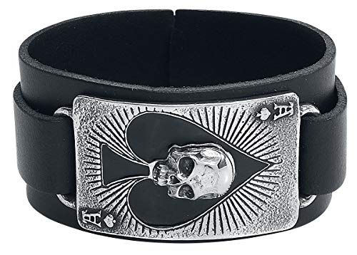 Alchemy Gothic Ace of Dead Spades Men Leather Bracelet Black-Silver, Leather,