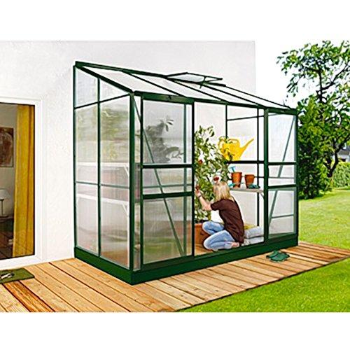 Ida 3300 Alu-Anlehngewächshaus grün HKP 4 mm Balkon-Gewächshaus 3,3 m² mit Fundament mit 1 Dachfenster