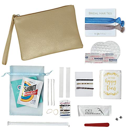 28 piece Gift-Boxed Bridesmaid Gift, Wedding Day Emergency Kit for Bride Gifts by LoveWell Gifts, Maid of Honor Gifts Set with Makeup Bag, Wedding Survival Kit, Bridal Party Gifts for Bridesmaids