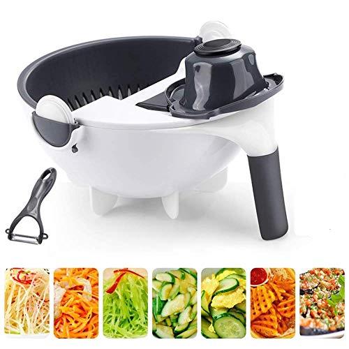 MJTP 9 en 1 Multifonction Rotation légume Coupe avec Panier de vidange Grande capacité légumes Hachoir légumes déchiqueteur râpe trancheuse Portable Cuisine Outil