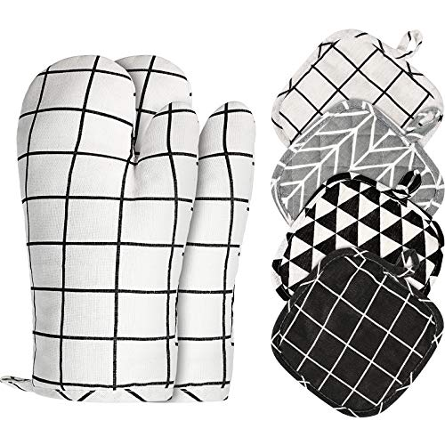 Set of 6 Oven Mitts and Pot Holders Kitchen Microwave Cotton Mitts Heat Resistant Oven Mittens and Oven Hot Mitts Pads with NonSlip Surface Hanging Loop Suitable for Baking Cooking Grilling