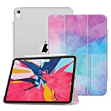 MoKo Case Fit iPad Pro 12.9' 2018 - Support Apple Pencil's Magnetic Charging - Slim Lightweight Smart Shell Trifold Stand Cover with Translucent Frosted Back, Auto Wake/Sleep - Water Color