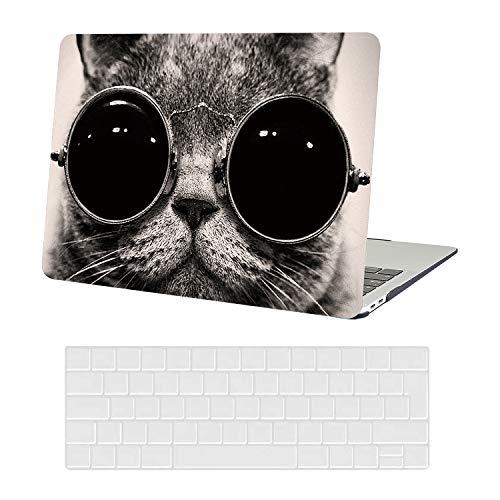 AUSMIX Laptop Hülle für MacBook Air13 Zoll Hülle Plastik Hard Shell Cover & Keyboard Skin Cover Nur kompatibel für MacBook New Air 13 Zoll 2020-2018 ReleaseM1 A2337/ A2179 / A1932,Brille Katze