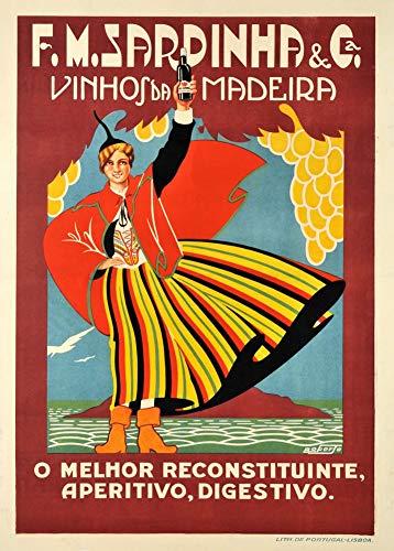 Vintage bieren, wijnen en sterke drank 'F.M Sardinha', Portugal, 1930, 250gsm Zacht-Satijn Laagglans Reproductie A3 Poster