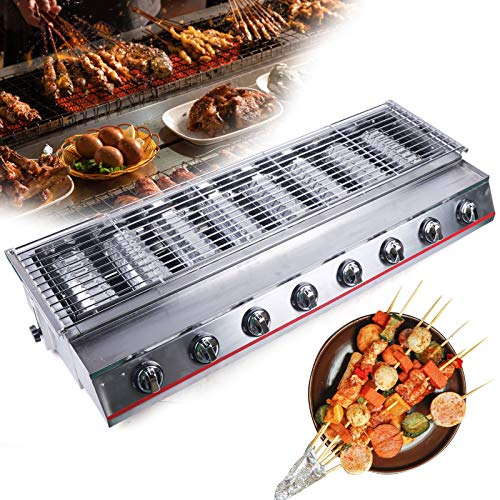 CNCEST Commercial LPG Gas BBQ Grill Stainless Steel Tabletop Gas Grill Outdoor Camping Picnic Cooker (8 Burners) Grills Propane