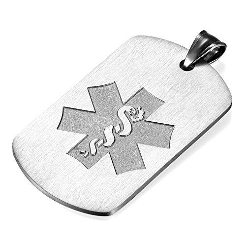 Flongo Placa Alerta Medica Cruz, Collar de identificación Acero Inoxidable Personalizado para alergias, Placa Dog Tag Militar de Hombre Mujer, Plateado