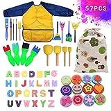 SaiXuan 57 Pcs Kits de Pinceles de Esponja,niños Gouache Craft Pinceles y Delantal Herramientas de Pintura,Acuarelas niños,Niños Pintura Temprana Artes DIY Artesanías