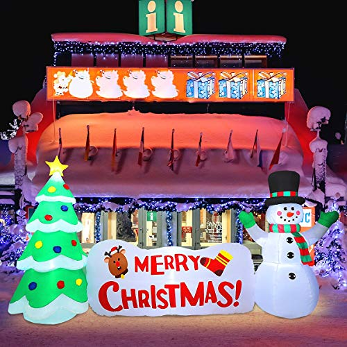 MAOYUE Christmas Inflatables 10Ft Christmas Decorations Outdoor Christmas Tree Snowman Merry Christmas Sign Blow Up Christmas Decorations Built-in LED Lights with Tethers, Stakes for Outdoor Yard Lawn