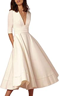 AlineMyer Womens Plus Size Sexy Deep V Neck Half Sleeve Party Cocktail Midi Dress
