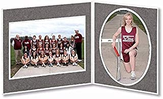 Player/Team 7x5/5x7 Gray Cardstock double photo frame sold in 10's - 5x7