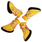 Pet Boots Dog Boots Waterproof Dog Shoes for Medium Large Dogs with Reflective Rugged Anti-Slip Sole Yellow Pack of 4 Pcs