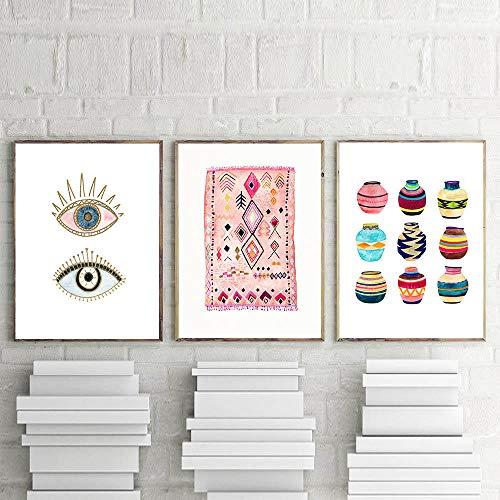 Zszy Marokkaanse kunst schilderij boho muur foto's ogen tribal geweven mand aquarel druk op canvas huis bohemian poster wanddecoratie 45 x 60 cm x 3 stuks zonder lijst