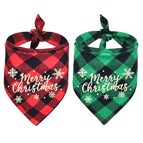 Malier 2 Pack Dog Bandana, Christmas Classic Buffalo Plaid Printing Dog Bandana, Pets Scarf Triangle Bibs Kerchief Dandana Costume Accessories for Small Medium Large Dogs Cats Pets (Red + Green)