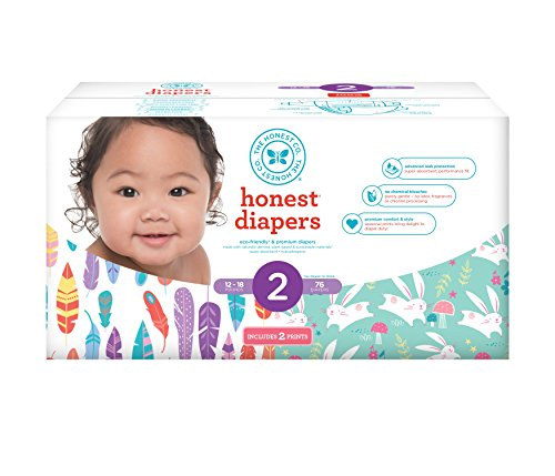 Honest Baby Diapers, Club Box, Pandas & Multi Colored Giraffes, Size 1, 80 Count